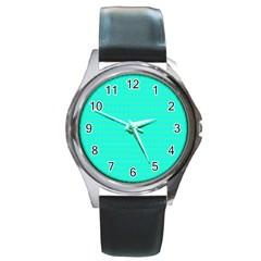 Clovers On Blue Round Metal Watch by PhotoNOLA