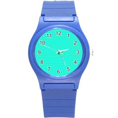 Clovers On Blue Round Plastic Sport Watch (s) by PhotoNOLA