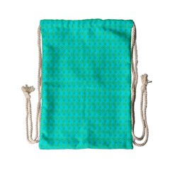 Clovers On Blue Drawstring Bag (small) by PhotoNOLA