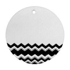 Chevrons Black Pattern Background Ornament (round) by Amaryn4rt