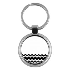 Chevrons Black Pattern Background Key Chains (round)  by Amaryn4rt