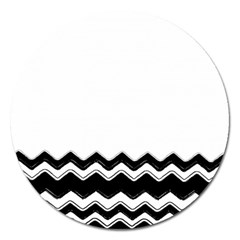 Chevrons Black Pattern Background Magnet 5  (round) by Amaryn4rt