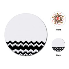Chevrons Black Pattern Background Playing Cards (round)  by Amaryn4rt