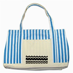 Chevrons Black Pattern Background Striped Blue Tote Bag by Amaryn4rt