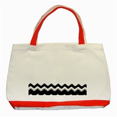 Chevrons Black Pattern Background Classic Tote Bag (red) by Amaryn4rt