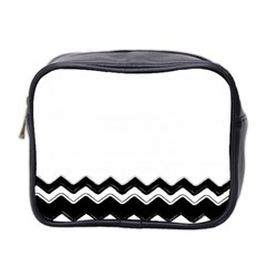 Chevrons Black Pattern Background Mini Toiletries Bag 2 Side by Amaryn4rt