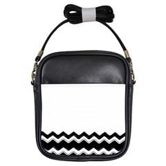 Chevrons Black Pattern Background Girls Sling Bags by Amaryn4rt
