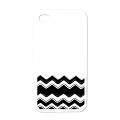 Chevrons Black Pattern Background Apple Iphone 4 Case (white) by Amaryn4rt