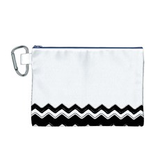 Chevrons Black Pattern Background Canvas Cosmetic Bag (m) by Amaryn4rt