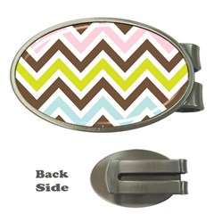 Chevrons Stripes Colors Background Money Clips (oval)  by Amaryn4rt