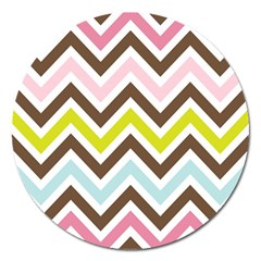 Chevrons Stripes Colors Background Magnet 5  (round) by Amaryn4rt