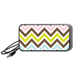 Chevrons Stripes Colors Background Portable Speaker (black) by Amaryn4rt