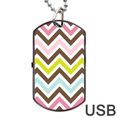 Chevrons Stripes Colors Background Dog Tag Usb Flash (one Side) by Amaryn4rt