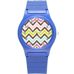 Chevrons Stripes Colors Background Round Plastic Sport Watch (s) by Amaryn4rt