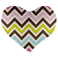Chevrons Stripes Colors Background Large 19  Premium Heart Shape Cushions by Amaryn4rt