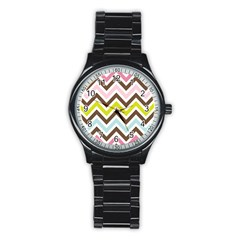 Chevrons Stripes Colors Background Stainless Steel Round Watch by Amaryn4rt