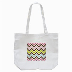 Chevrons Stripes Colors Background Tote Bag (white) by Amaryn4rt