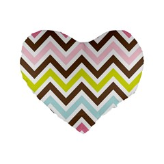 Chevrons Stripes Colors Background Standard 16  Premium Flano Heart Shape Cushions by Amaryn4rt