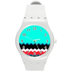 Pattern Digital Painting Lines Art Round Plastic Sport Watch (m) by Amaryn4rt