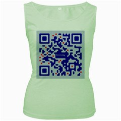 Digital Computer Graphic Qr Code Is Encrypted With The Inscription Women s Green Tank Top by Amaryn4rt