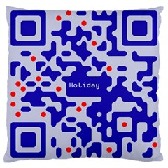 Digital Computer Graphic Qr Code Is Encrypted With The Inscription Large Cushion Case (two Sides) by Amaryn4rt
