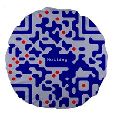 Digital Computer Graphic Qr Code Is Encrypted With The Inscription Large 18  Premium Round Cushions by Amaryn4rt