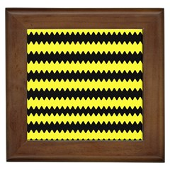 Yellow Black Chevron Wave Framed Tiles by Amaryn4rt