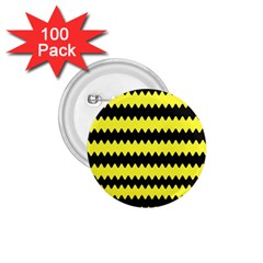 Yellow Black Chevron Wave 1 75  Buttons (100 Pack)  by Amaryn4rt