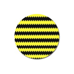 Yellow Black Chevron Wave Magnet 3  (round) by Amaryn4rt