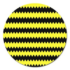 Yellow Black Chevron Wave Magnet 5  (round) by Amaryn4rt