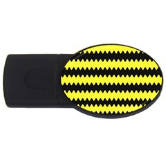Yellow Black Chevron Wave Usb Flash Drive Oval (2 Gb) by Amaryn4rt
