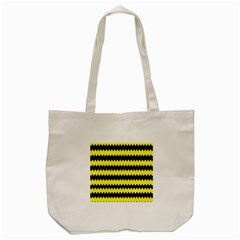Yellow Black Chevron Wave Tote Bag (cream) by Amaryn4rt