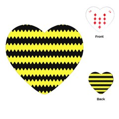 Yellow Black Chevron Wave Playing Cards (heart)  by Amaryn4rt