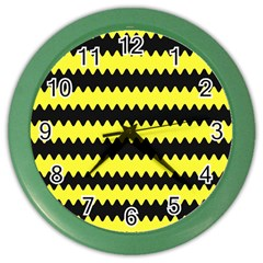 Yellow Black Chevron Wave Color Wall Clocks by Amaryn4rt