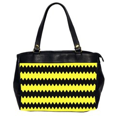Yellow Black Chevron Wave Office Handbags (2 Sides)  by Amaryn4rt