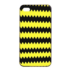 Yellow Black Chevron Wave Apple Iphone 4/4s Seamless Case (black) by Amaryn4rt