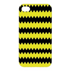 Yellow Black Chevron Wave Apple Iphone 4/4s Hardshell Case by Amaryn4rt
