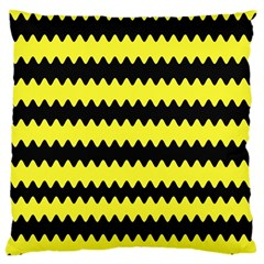 Yellow Black Chevron Wave Large Cushion Case (two Sides) by Amaryn4rt