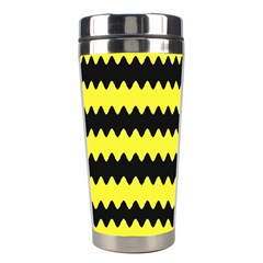 Yellow Black Chevron Wave Stainless Steel Travel Tumblers by Amaryn4rt