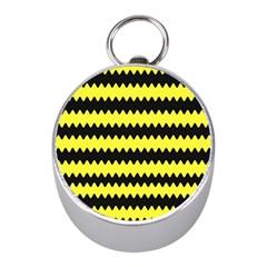 Yellow Black Chevron Wave Mini Silver Compasses by Amaryn4rt