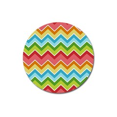 Colorful Background Of Chevrons Zigzag Pattern Magnet 3  (round) by Amaryn4rt