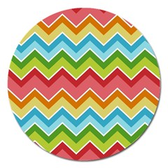 Colorful Background Of Chevrons Zigzag Pattern Magnet 5  (round) by Amaryn4rt