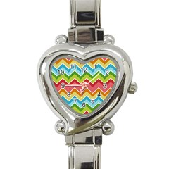 Colorful Background Of Chevrons Zigzag Pattern Heart Italian Charm Watch by Amaryn4rt