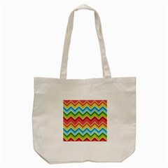 Colorful Background Of Chevrons Zigzag Pattern Tote Bag (cream) by Amaryn4rt