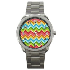 Colorful Background Of Chevrons Zigzag Pattern Sport Metal Watch by Amaryn4rt