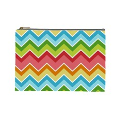 Colorful Background Of Chevrons Zigzag Pattern Cosmetic Bag (large)  by Amaryn4rt