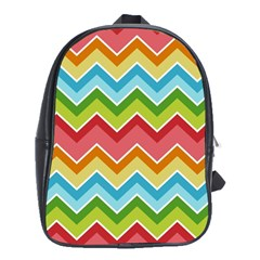 Colorful Background Of Chevrons Zigzag Pattern School Bags(large)  by Amaryn4rt