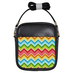 Colorful Background Of Chevrons Zigzag Pattern Girls Sling Bags by Amaryn4rt
