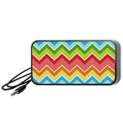 Colorful Background Of Chevrons Zigzag Pattern Portable Speaker (black) by Amaryn4rt