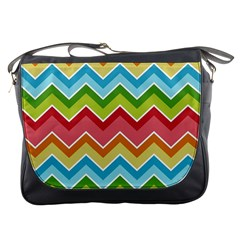 Colorful Background Of Chevrons Zigzag Pattern Messenger Bags by Amaryn4rt